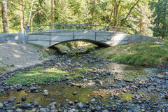 Bridge At Flaming Geyser. A walking bridge spans a stream at Flaming Geyser State Park in Washington State Stock Photos