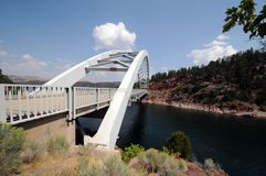 Bridge at Flaming Gorge. Arch bridge spanning Flaming Gorge Reservoir, Utah stock images