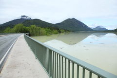 Bridge at flood water Royalty Free Stock Photography