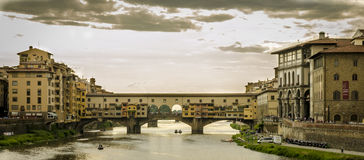 Bridge in Florence. With houses and shops Stock Photos