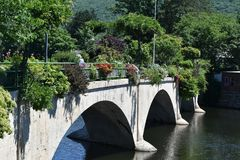 Bridge of Flowers, Shelburne Falls, Franklin County, Massacusetts, United States, USA. Bridge of flowers connects the towns of Shelburne and Buckland royalty free stock images