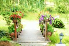 Bridge with flowers Stock Photo