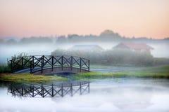 Bridge in fog stock photo