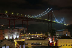 Bridge on Fog. Photo of a big bridge over Tagus river in Lisbon, Portugal, in a foggy night Stock Photography