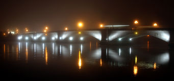 Bridge in fog stock image