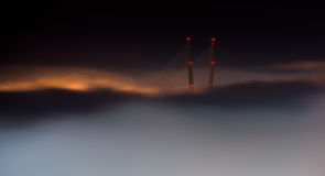 Bridge in the fog. Royalty Free Stock Image