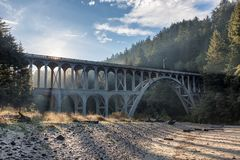 Bridge near Heceta Head Lighthouse, Oregon coast. Bridge in the fog near Heceta Head Lighthouse, Oregon coast Stock Image