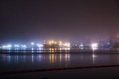 Bridge in the fog, over the Bay. Stock Photo