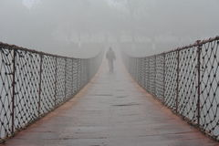 Bridge in the fog Stock Photo