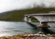 A bridge in foggy weather. A bridge between Lofoten islands in  foggy weather Stock Image