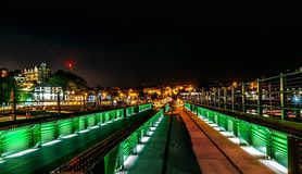 Bridge at Folkestone Harbour at night stock photo
