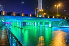 bridge and footpath at night royalty free stock photography