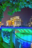 bridge and footpath at night Royalty Free Stock Photos