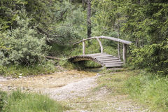 Bridge in forest. Small bridge with handrail leads over brook Royalty Free Stock Images