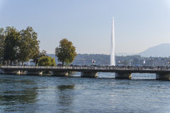 Bridge and fountain Royalty Free Stock Photos