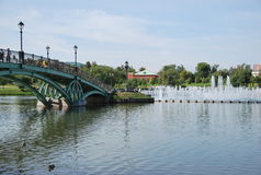 The bridge and fountain in park Tsarina\'s. Historical manor memorial estate in Moscow in which the palace of tsarina Catherine II is located. A pond with a Stock Image