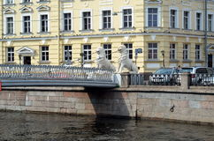 Bridge of Four Lions. In St.Petersburg, Russia Royalty Free Stock Photography