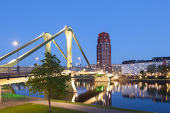 Bridge in Frankfurt Main at night Stock Photo
