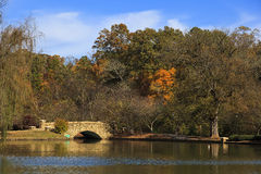 Bridge at Freedom Park. The stone bridge at Freedom Park in Charlotte, NC in the fall season Royalty Free Stock Photography