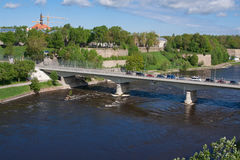 Bridge of Friendship with pedestrian tunnel over Narova River between Narva in Estonia and Ivangorod in Russia. NARVA, ESTONIA: Bridge of Friendship with Stock Photography