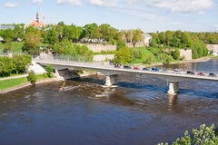 Bridge of Friendship with pedestrian tunnel over Narova River between Narva in Estonia and Ivangorod in Russia. NARVA, ESTONIA: Bridge of Friendship with Stock Images