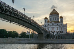 Bridge in front of Cathedral of Christ the Savior Royalty Free Stock Photography