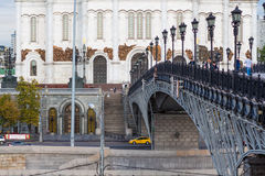 Bridge in front of Cathedral of Christ the Saviour Royalty Free Stock Image