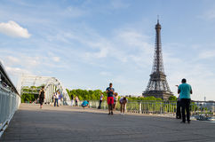 Bridge in the front of the Eiffel Tower Stock Image