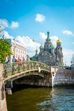 The bridge in front of Savior on the Spilled Blood in Saint Petersburg, Russia. royalty free stock images