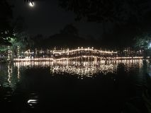 A bridge in full moon night royalty free stock images
