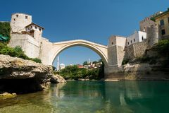 bridge gammala mostar Royaltyfria Bilder