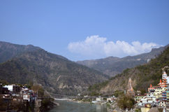 Bridge. Ganga river & Himalaya mountain. Rishikesh Stock Photography