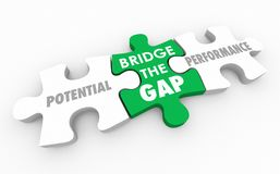Bridge the Gap Between Potential and Performance Puzzle 3d Illus. Tration Royalty Free Stock Images