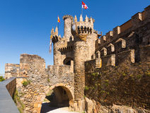 Bridge and gate of the Templar Castle in Ponferrada Royalty Free Stock Images
