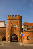 Bridge gate, Torun, Poland. Bridge tower  gate and city walls, Torun, Poland Royalty Free Stock Photography