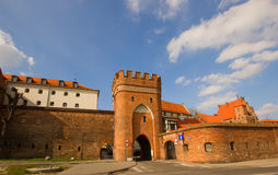 Bridge gate, Torun, Poland. Bridge tower  gate and city walls, Torun, Poland Stock Photos