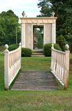Bridge and gazebo in garden Stock Image