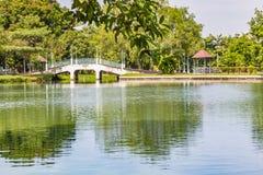 Bridge and gazebo in the park Stock Photo