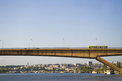 Bridge  Gazela over the Sava river, Belgrade. Bridge Gazela over the Sava river with view of Kalemegdan fortress  in the background, Belgrade, Serbia Royalty Free Stock Images