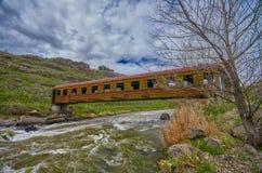 Bridge in Georgia made of Abandoned Train Car Royalty Free Stock Photo