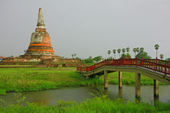 The bridge go to Ayutthaya Temple Royalty Free Stock Photography