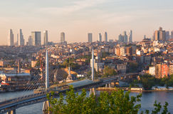 Bridge the Gold horn (metro bridge) in Istanbul. On a sunset in the summer, Turkey Royalty Free Stock Photography