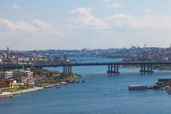 Bridge through The Golden Horn in Istanbul Royalty Free Stock Image