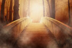 Bridge, Golden, Light, Mystical Royalty Free Stock Photo