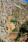 El Chorro gorge along the famous Caminito del Rey path in Andalusia, Spain royalty free stock photos