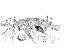 Bridge graphic art black white river landscape illustration Stock Photography