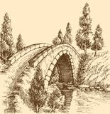 Bridge graphic landscape Royalty Free Stock Photo