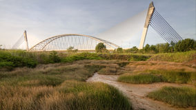 The bridge and the grass. This bridge is not actually abundant but the angle took it like build in nowhere, this bridge is located at Putra Jaya, Malaysia Royalty Free Stock Image