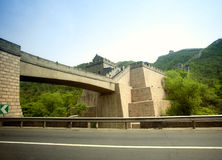 Bridge and great wall cross the highway Stock Photography