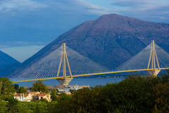 Bridge in Greece, mountains in the background.  Royalty Free Stock Image